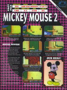 The rather hard to read preview of Mickey Mouse 2 for the Game Gear