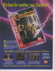 The box art for Shadowrun on the Genesis - featuring the 2nd Edition Corebook cover art!